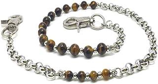 KUSTOM FACTORY - Catena a portafoglio personalizzata, con perle marroni e occhio di tigre