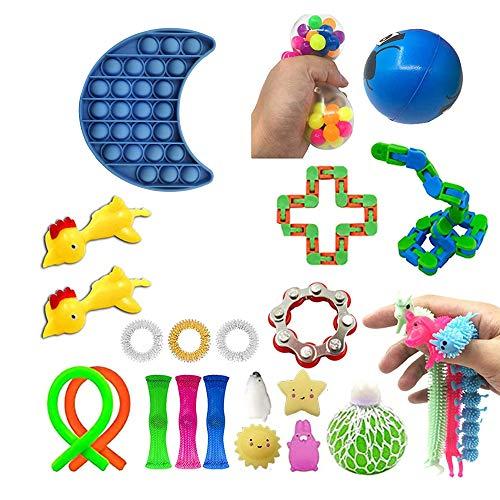Juego de juguetes sensoriales,juego de juguetes Fidget con Pop It,herramientas para aliviar el estrés y la ansiedad,alivia el estrés y la ansiedad Fidget Toy para niños adultos (A2-24Pc, TOY)