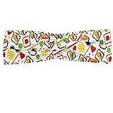 ABAKUHAUS Diadame Sushi, Banda Elástica y Suave para Mujer para Deportes y Uso Diario Ejemplo colorido de cocina tradicional japonesa con soja wasabi y Caviar, Multicolor
