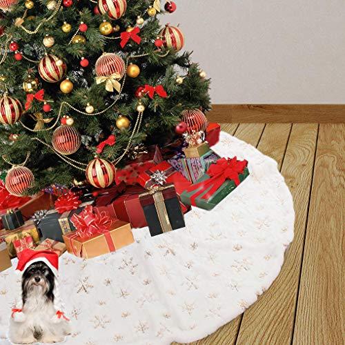 """Weihnachtsbaum Rock 35""""weißer Plüsch Schneeflocke Rock Base Cover für Weihnachtsbaum Ornament Weihnachtsdekoration (Weiß)"""
