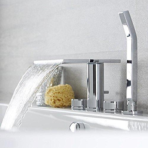 Hudson Reed Wannenarmatur Blade - 4-Loch Armatur für Badewannen mit Handbrause und Wasserfall-Einlauf - Moderne Armatur zur Aufsitzmontage