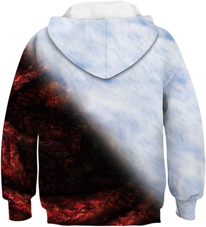 AEMOOEE Girls Cool Wolf Sweatshirt Hoodie Animal 3D Print Pullover Hooded Sweatshirts 4-15Y
