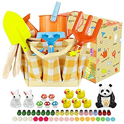 ZesNice Kids Gardening Tools Set?Kids Garden Tools Set Toys Including Watering Can, Gloves, Shovel, Rake, Trowel ,Tote Bag and Garden Ornaments? All in One Gardening Tote