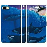 ブレインズ iPhone8Plus 7Plus 6sPlus 6Plus 手帳型 ケース カバー シャチとクジラ あまみ藤奈 シャチ オルカ クジラ ザトウクジラ ペンギン