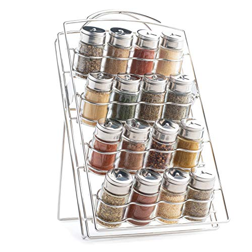 Mindspace Spice Rack Kitchen Counter Organizer for Countertop or Cabinet Pantry, kitchen organization - 16 Round 2.5oz Glass Spice Jars included | The Wire Collection, Chrome