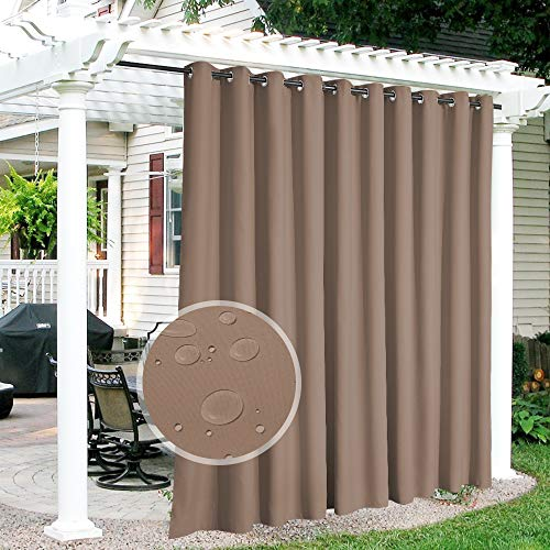 RYB HOME Outdoor Curtains for Patio - Extra Wide Blackout Waterproof Indoor Outdoor Solar Curtains for Balcony Yard Screen Porch Window, 150 inch Width x 95 inch Length, 1 Panel, Mocha