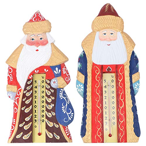 Amosfun 2Pcs Christmas Indoor Thermometer Vertical Thermometers Santa Hygrometer Holiday Wall Decoration for Home Office Baby Room Greenhouse