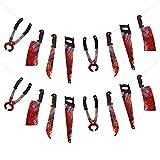 ZERHOK Decoracion Horrible 2pcs Cuchillo con Sangre Colgante Bandera Halloween sangrienta para adornar casa habitación y Patio en Halloween el día de Muertos y Fiestas agregando Ambiente macabra
