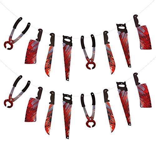 ZERHOK Halloween Horror Banner Blutige Messer Girlande Halloweenparty Foto Requisiten Gruseliges Waffen Halloweendeko Für Todesnacht Party