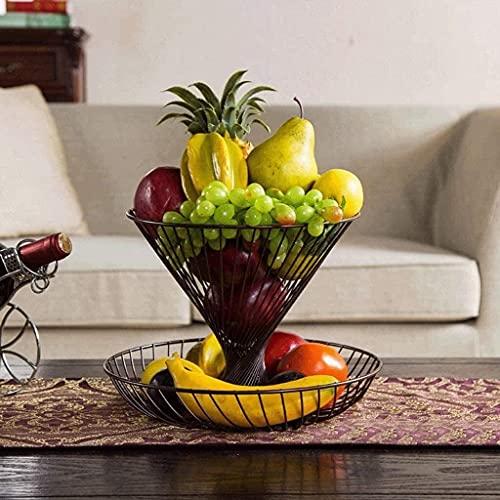 Plato de fruta de dos capas, plato de frutas secas para el hogar, sala de estar, creativo, plato de fruta, plato de fruta moderno (color: bronce)
