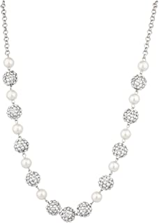 Lux Accessories Imitation Pearl Fireball Studded Statement Necklace