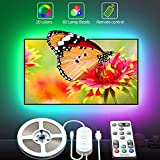 LED TV Backlights with Remote, Govee RGB LED Strip Lights USB Powered, 6.56ft Music Sync Lights for 40-60inch TV, 5050 LEDs, 20 Colors Changing Lights, 3M Tape and 5 Support Clips Included