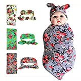 Newborn Swaddle Blanket Headband with Bow Set Baby Receiving Blankets