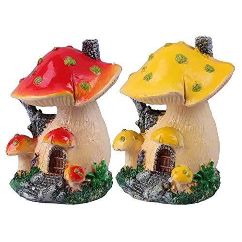Cabilock 2 Stücke Feenhaus Pilzhaus Miniatur Pilz Statue Fee Puppenhaus Feengarten Zubehör Ornamente für Moos Sukkulenten Blumentopf Terrarium Garten Deko Micro Landschaft Dekoration