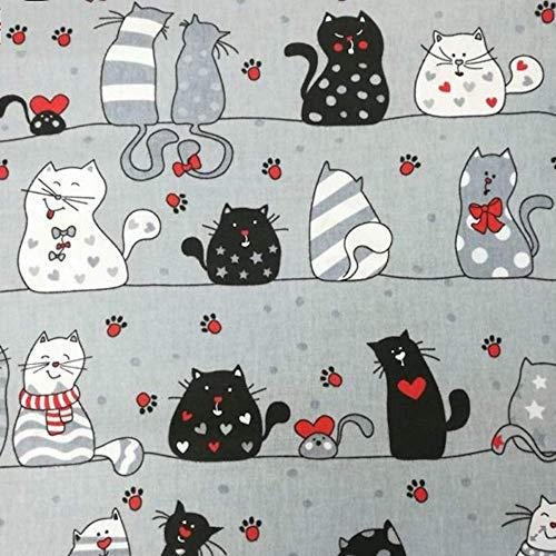 Pure Textilien Erstklassiger Baumwollstoff 0,5lfm, 100% Baumwolle, modische Muster, Breite 160cm – verrückte Katzen grau und rote