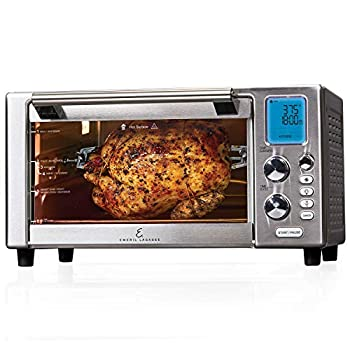 """Emeril Everyday 360 Deluxe Air Fryer Oven 15.1"""" x 19.3"""" x 10.4"""" with Accessory Pack Silver  Renewed"""