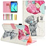 UUcovers for Samsung Galaxy Tab E 8.0 Inch 2016 Tablet Model SM-T377A/T377V/T377P/T375/T378 with Pencil Holder [Auto Wake/Sleep] Multi-Angle Stand Smart PU Leather Folio Wallet TPU Cover, Bear Balloon