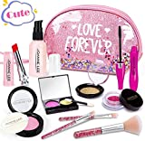 HINZER Kids Makeup Kit for Girls Toddlers Pretend Makeup Set for Kids Pretend Play Makeup Cosmetic Toy Birthday Gift for Girls Fake Makeup Toy with Sequin Glitter Bag