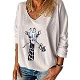 Camiseta Estampada con Letras para Mujer Camiseta Holgada con Cuello En V De Manga Larga Camiseta para Mujer Top