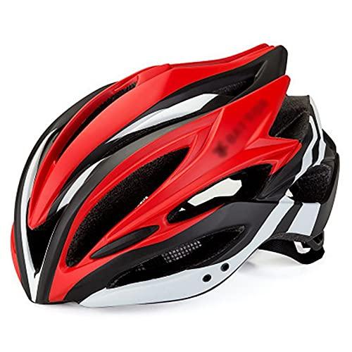 G&F Casco Bicicleta MTB Adulto Ligero Casco Ciclismo con Luz LED, Tamaño Ajustable 58 hasta 62CM Casco Ciclismo (Color : Red, Size : 58-62)