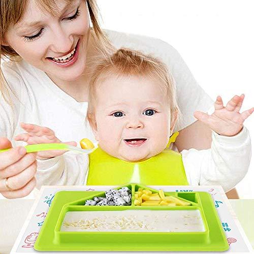 Peuter plaat met lepel, Silicone baby Plate zuignappen voor peuters, Vaatwasser Siliconen Eetbak Mat Gift voor baby's peuters en kinderen