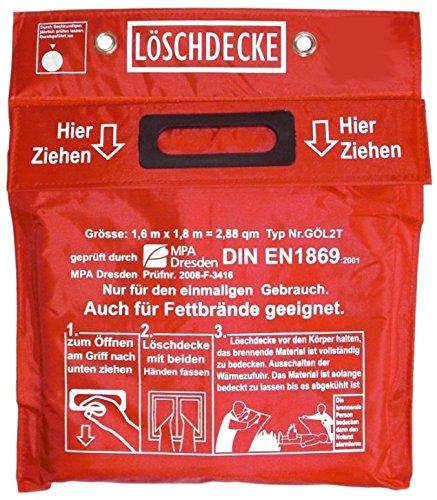 Löschdecke 1,60 x 1,80 m Geprüft MPA Dresden nach DIN EN 1869:2001, (auch für Fettbrände), Funkenschutz, roter Tasche Klettverschluß 2 Ösen weißem Hitzebeständigem Glasgewebe aufgenähten Grifftaschen
