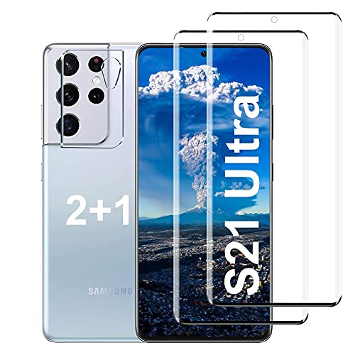"""[2+1 Pack] Galaxy S21 Ultra 5G(6.8"""") Tempered Glass Screen Protector [Ultrasonic Fingerprint Unlock] [9H Hardness] [3D Curved] for Samsung Galaxy S21 Ultra 5G 6.8 inch HD Tempered Glass Protector"""