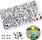 Hoiny Selbstklebend Wackelaugen, 1200 Stück Wiggle Googly Augen Kunststoff Puppe Augen, Kulleraugen Selbstklebend für DIY Scrapbooking Handwerk, Cerschiedene Größen