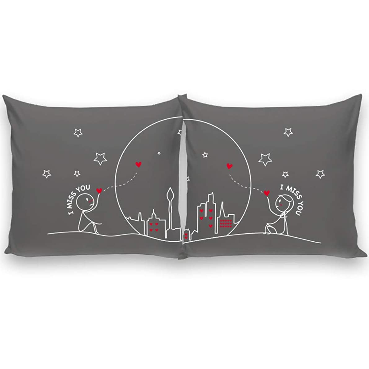 BoldLoft Miss Us Together His and Hers Throw Pillow Covers-Long Distance Relationships Gifts Couple Pillowcases Boyfriend Girlfriend Anniversary Valentine's Day-Euro Pillow Covers 26x26 Set of 2 Grey