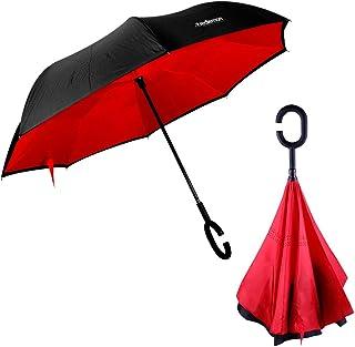 Redlemon Paraguas Invertido con Doble Refuerzo, Resistente a Vientos y Lluvias Fuertes, Mango Ergonómico en Forma C, Fácil de Transportar y Libre de Escurrimientos. Rojo
