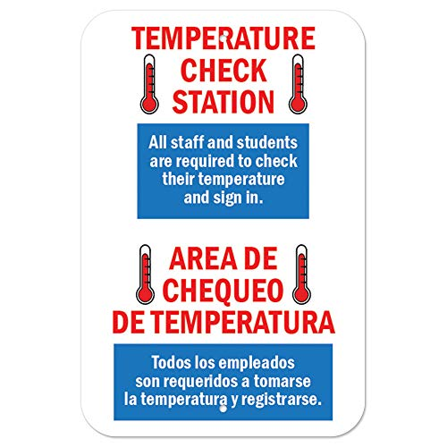 Public Safety Sign - Temperature Check Station Spanish | Heavy-Gauge Aluminum Parking Sign | Protect Your Business, Municipality, Home & Colleagues | Made in The USA