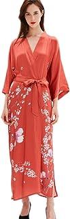 prettystern Robe di Vestaglia Kimono di Seta Extra Lungo per Donna