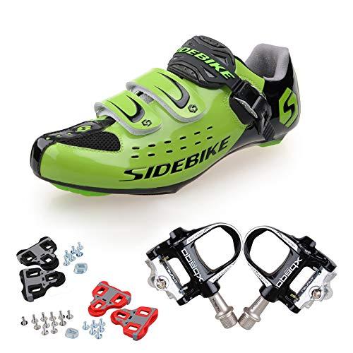 SPFAS Professionelle Road Fahrradschuhe Radfahren Outdoor-Schuhe Atmungsaktiv Selbsthemmendmit 1 Paar Pedalen Herren Damen(Wählen Sie eine Größe größer)