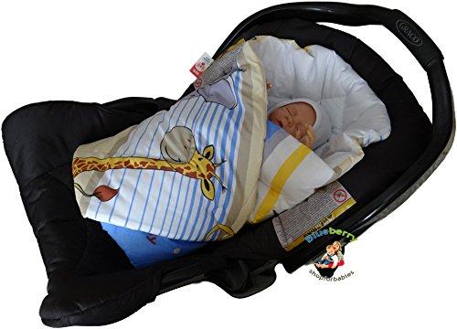 BlueberryShop Wickeldecke zum Auto, Schlafsack für Neugeborene von 0 bis 3 Monaten für Kinderwagen oder Kinderbett, Baby Shower, 78 x 78 cm, Creme Safari