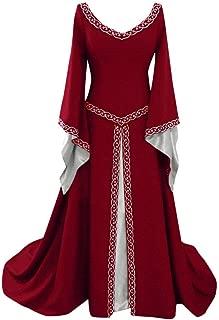 Aniywn Women's Flare Long Sleeve Medieval Dress Floor Length Cosplay Dress Vintage Gothic Dresses