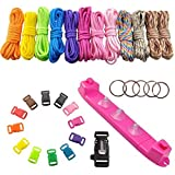 UCEC 12 Rainbow Color Paracord Braiding Weaving DIY Craft Tool Kit with Parachute Cord Jig Bracelet Wristband Plastic Maker Loom, Colorful Buckles and Flint Fire Starter Scraper Whistle