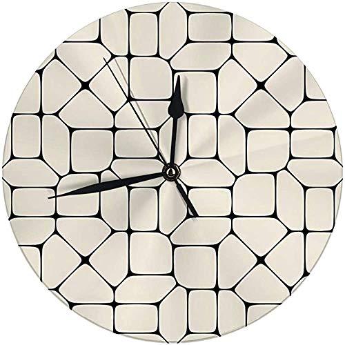 N/A Moderne wandklok grote 9,8 inch zwart-wit-geometrische mozaïek pleisters digitale ronde klok