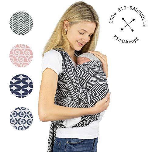 Babytragetuch I Kindertragetuch I Premium Qualität aus Österreich I 100% Bio Baumwolle I kindsknopf (Metro Monochrome schwarz, 6)