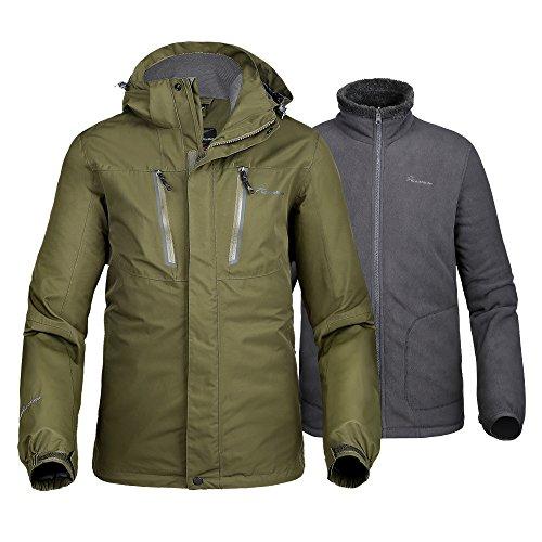OutdoorMaster Men's 3-in-1 Ski Jacket - Winter Jacket Set with Fleece Liner Jacket & Hooded Waterproof Shell - for Men (Olive Green,XXL)