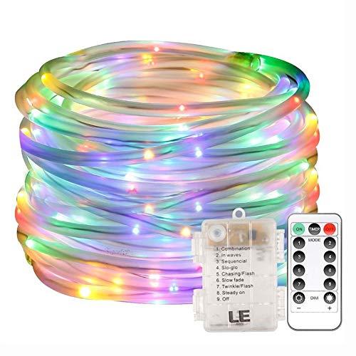 QPOWY Luces de Cadena de Tubo de Cuerda de Arco Iris LED 100Led Batería con batería Impermeable Al Aire Libre Jardín de Navidad Camino con Control Remoto 10M