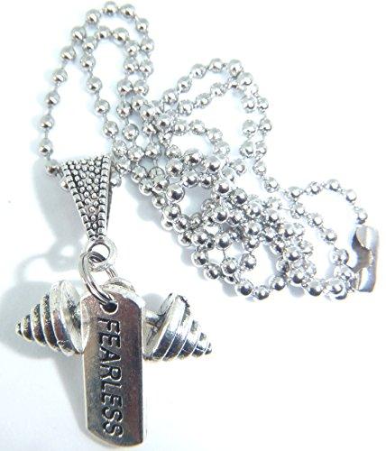 Starfish Records - Abalorio de plata tibetana con cadena de bolas chapada en plata de 24 pulgadas, bolsa de regalo de organza para gimnasio, peso de proteína