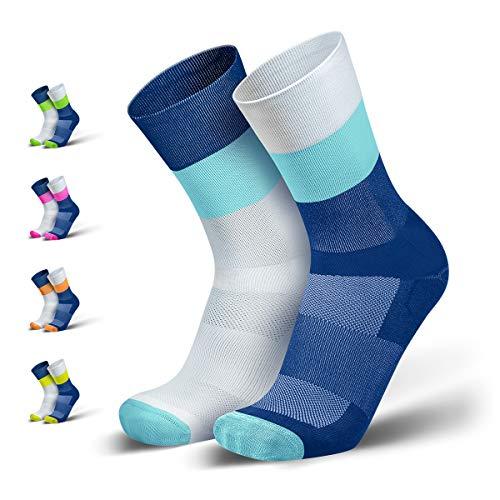 INCYLENCE Mirrored Kompressionssocken lang, leichte Running Socks mit Anti-Blasenschutz, atmungsaktive Funktionssocken, Triathlon Socken, mint, 35-38