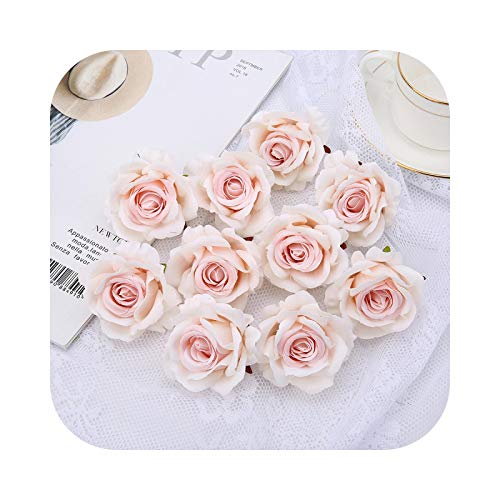 Fake Flower - Flores artificiales de seda, rosas románticas para San Valentín, rosas de seda artificiales, flores para camión, bodas, decoración floral, bricolaje – rosa rosa
