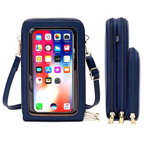HAIWILL Handy Umhängetasche Damen Touchscreen Tasche Handy Wasserdicht Handtasche Schultertasche Leder Frauen Brieftasche Retro Crossbody kleine Handy Tasche für iPhone 11 Pro/11/Xs Max/XR/Xs (Blau)