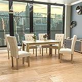 Vida Designs Medina 6 Seater Dining Table Oak & Horton 6 Fabric Cream & Oak Dining Chairs Modern Kitchen Dining Room Furniture Set