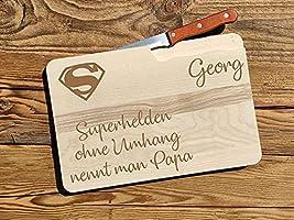 Frühstücksbrettchen Papa mit Brot-Messer | Brettchen aus Holz Superheld Papa | Vesperbrett aus Holz | Brotzeitbrett mit...