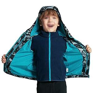 メンズアウトドアジャケット 幼児ボーイズフード付きレインジャケット3-IN-1中学生スキージャケット防風冬のレインコートの暖かいアウターウェアプリントキッズスノージャケットブルー コート・ジャケット (サイズ : XS size)
