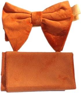 男式超大金色天鹅绒预扎蝴蝶结和方形口袋