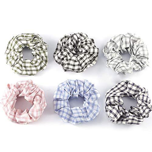 Genglass Élastiques Cheveux chouchous Polyester Plaid Élastiques à cheveux Accessoires de cheveux roses pour femmes et filles Pack de 6