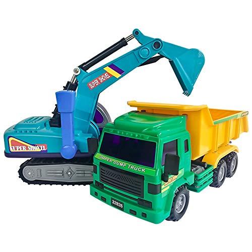 Lihgfw Excavadora De Plástico Para Niños De Gran Tamaño Excavadora De Plastic Plastico Automóvil Anti-Drop Dumper Juego De Camiones Grande Ingeniería Combinación Vehículo Modelo De Vehículo 360 ° Rega